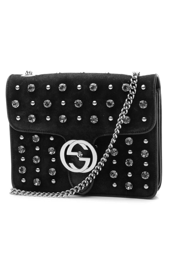Gucci Studded Crystal Interlocking G Bag - Black