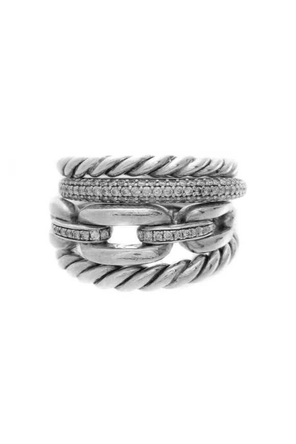 David Yurman Diamond Wellesley Link 4 Row Ring - Silver Size 7