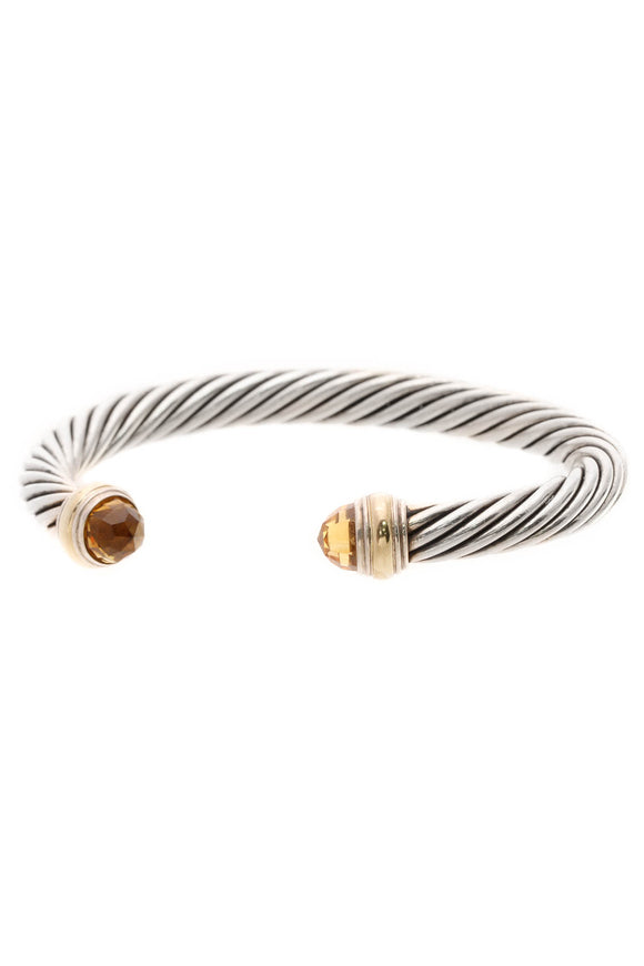 David Yurman 7mm Citrine Classic Cable Cuff Bracelet - Silver/Gold