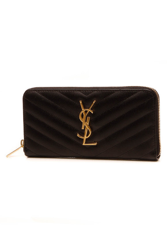 Saint Laurent Matelasse Chevron Monogram Zip Around Wallet - Black