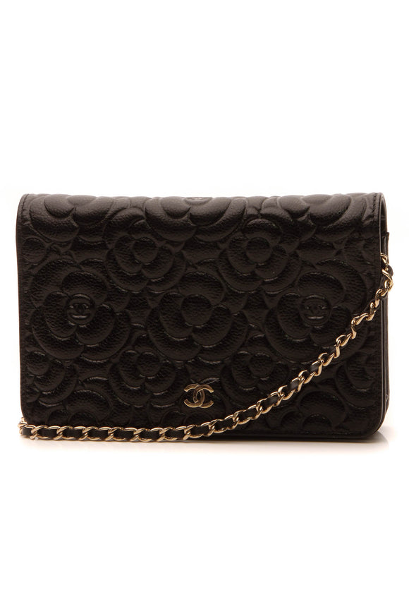 Chanel Camellia Embossed WOC Bag - Black