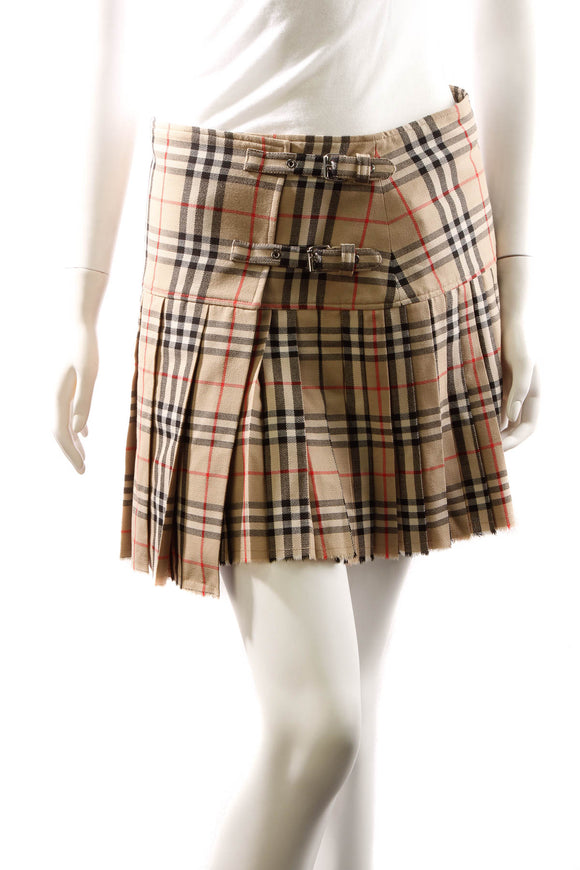 Burberry Pleated Skirt - Check Size 6