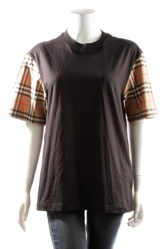 Burberry Check Sleeve T Shirt - Black