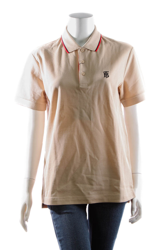 Burberry Polo Shirt - Soft Fawn Size Small