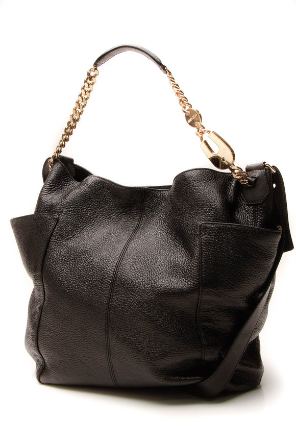 Jimmy Choo Chain Hobo Bag Metallic Black