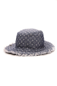 Louis Vuitton Bobbygram Reversible Bucket Hat Denim Blue Size Small