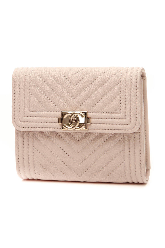 Chanel Chevron Quilted Boy Compact Wallet - Beige