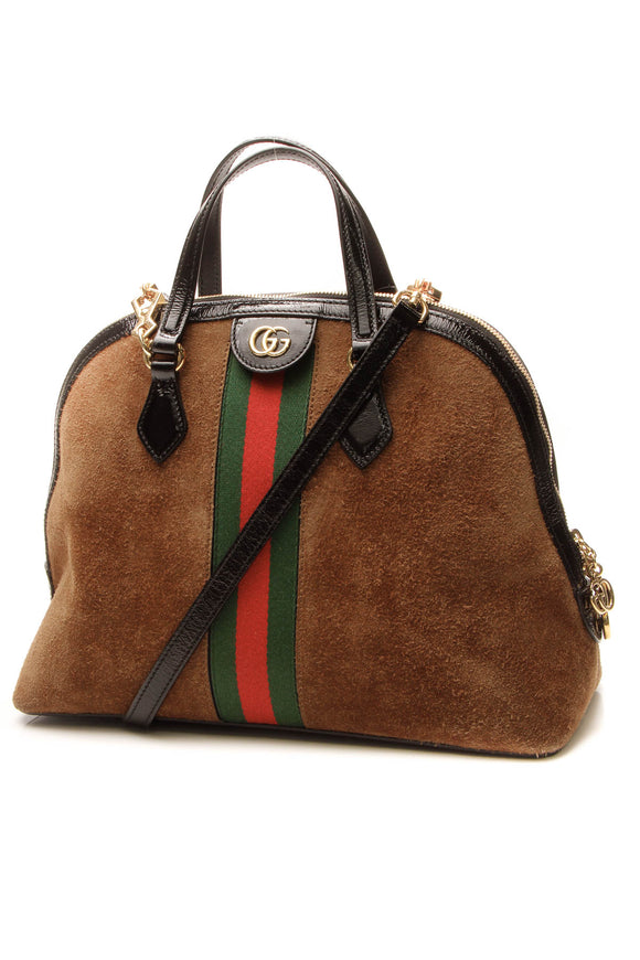 Gucci Ophidia Medium Dome Top Handle Bag - brown
