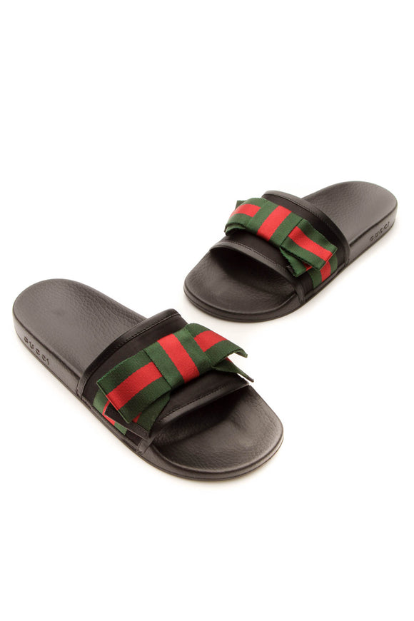 Gucci Pursuit Web Bow Slide Sandals - Black Size 42