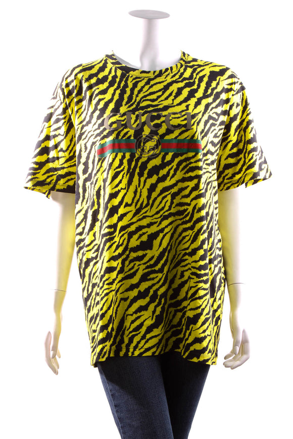 Gucci Tiger Print Logo T-Shirt - Neon Yellow Size Large