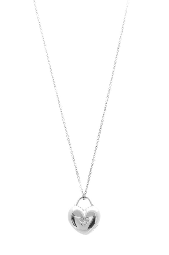 Tiffany & Co. 3 Diamond Heart Pendant Necklace - White Gold