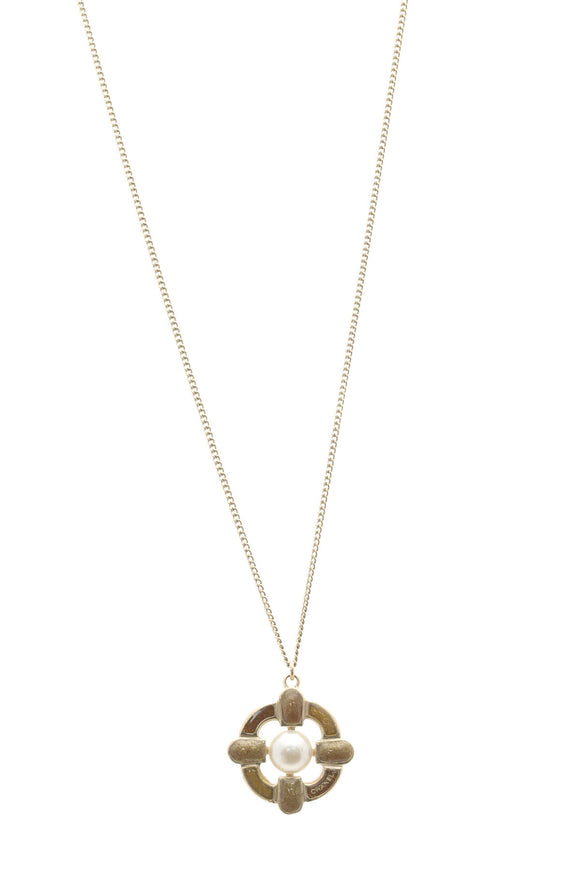 Chanel Pearl & Enamel Pendant Necklace - Gold