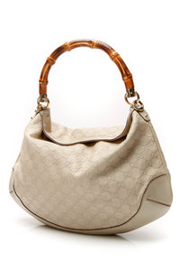 Gucci Peggy Medium Bamboo Top Handle Bag Beige Guccissima