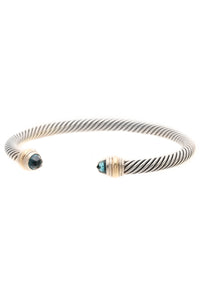 David Yurman 5mm London Blue Topaz Cable Classics Bracelet - Silver/Gold