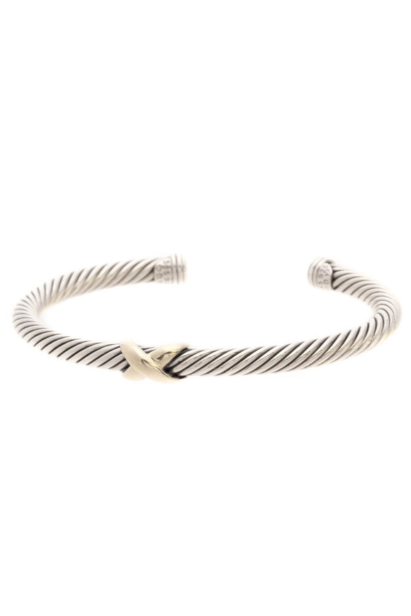 David Yurman 5mm X Cable Cuff Bracelet - Silver/Gold