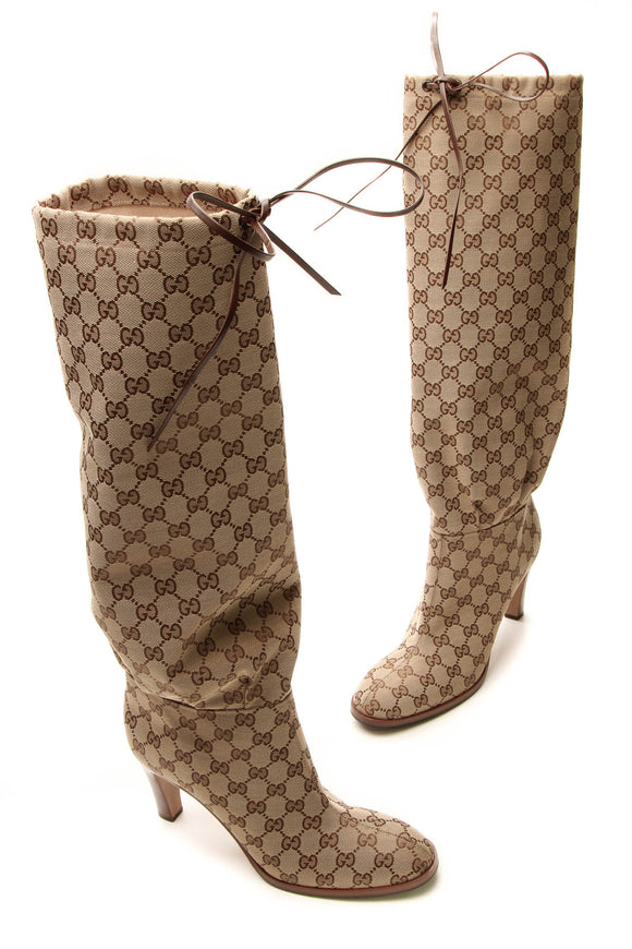 Gucci Knee High Drawstring Boots - Signature Canvas Size 42