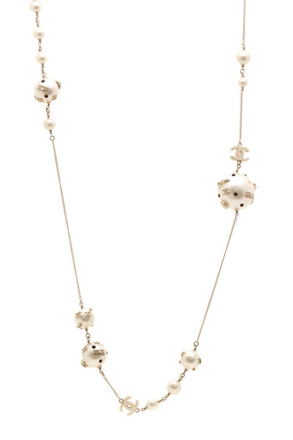 Chanel Embellished Pearl Chain Necklace - Gold