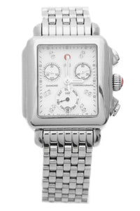 Michele Deco Diamond Dial Watch - Steel