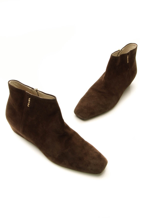 Prada Suede Wedge Booties - Brown size 40