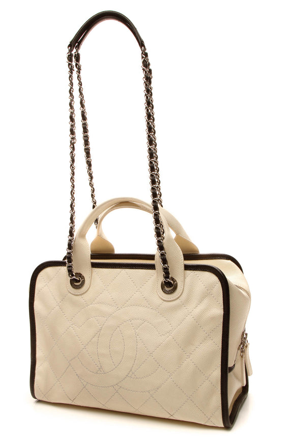 Gucci Timeless Top Handle Bowling Bag - Ivory Caviar