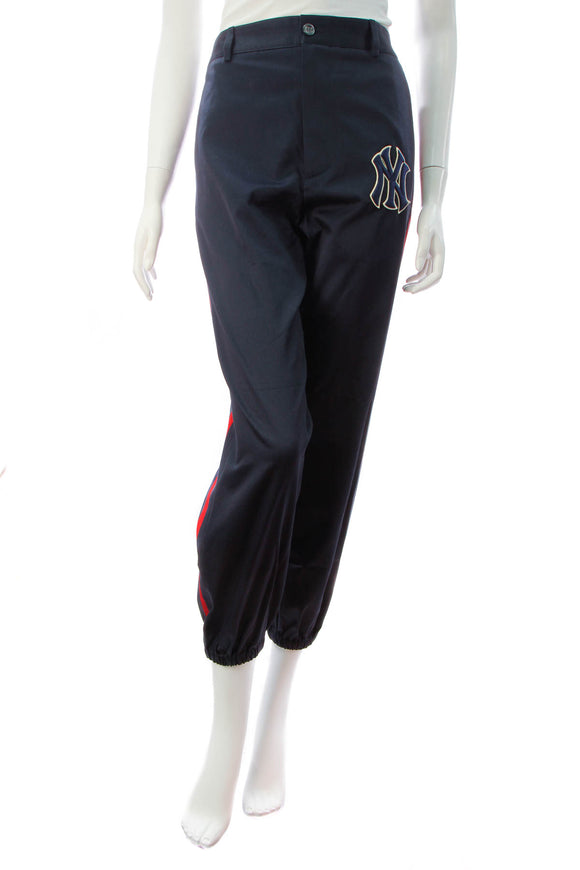 Gucci NY Yankees Twill Men's Trousers - Blue/Red Size 46