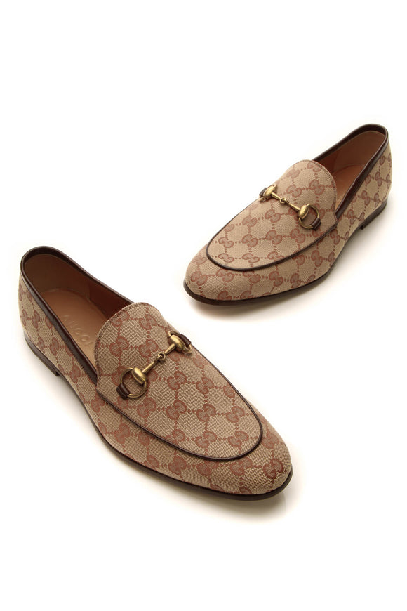 Gucci Jordaan Horsebit Men's Loafers - Brick Signature Canvas US Size 8
