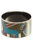 Hermes Equestrian Printed Wide Bangle Bracelet - Silver