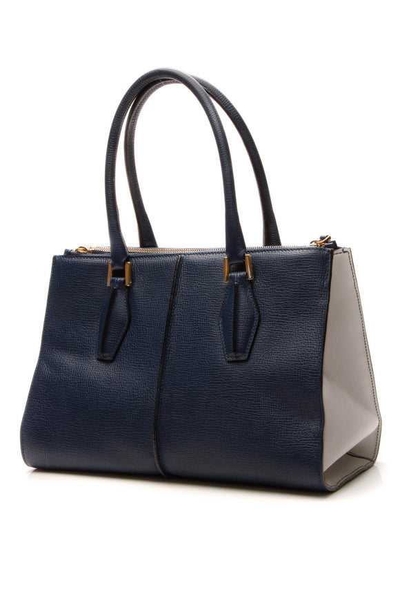 TOD'S Two-Tone Satchel Bag - Navy/White