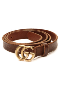 Gucci Marmont Skinny Belt - Brown Size 36