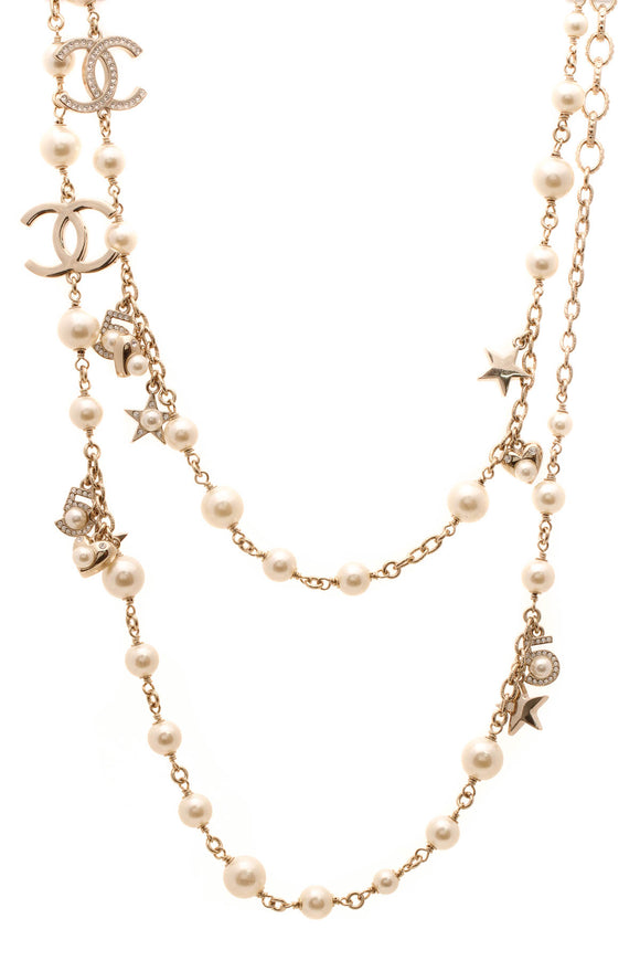 Chanel Pearls & Stars CC Long Necklace - Gold