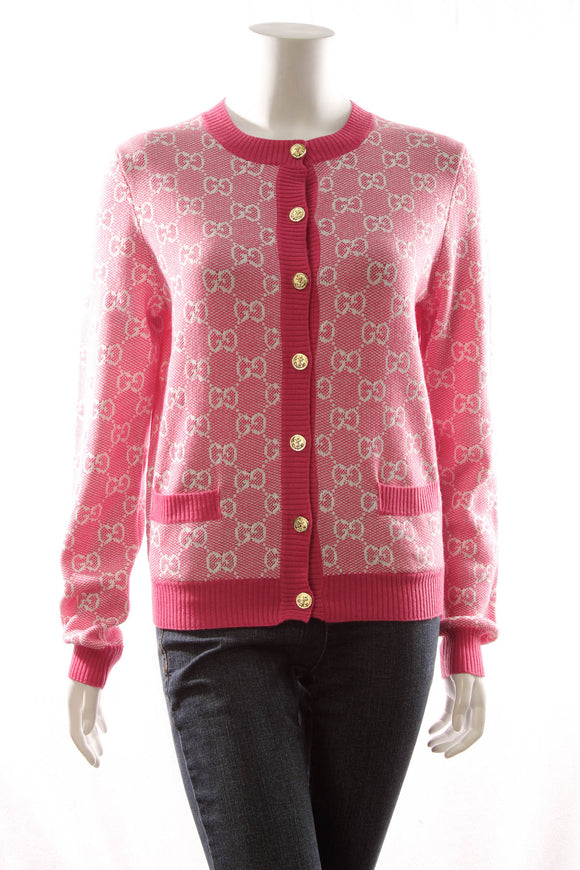 Gucci GG Piquet Cardigan - Pink Size Small