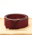 Louis Vuitton LV Initiales Belt - Red Mini Damier Suede Size 36