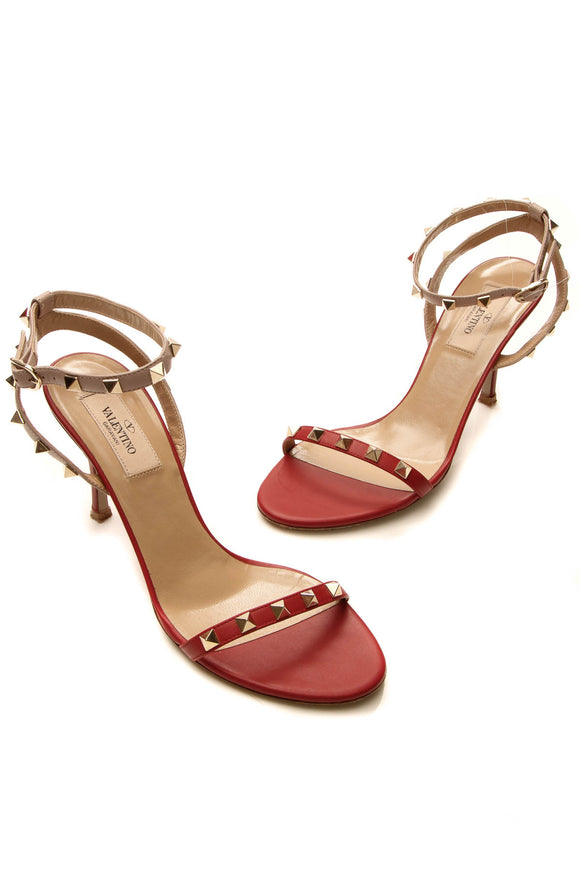 Valentino Rockstud Heeled Sandals - Red/Poudre Size 37
