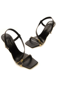 Versace Safety Pin Zipper Slingback Sandals - Black Size 40