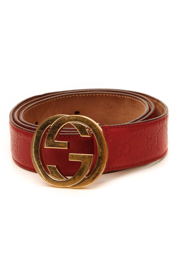 Gucci Interlocking G Buckle Belt - Red Guccissima Size 44