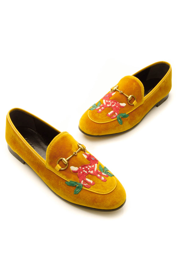 Gucci Velvet Embroidered Deer Jordaan Loafers - Yellow Size 38
