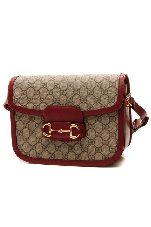 Gucci Horsebit 1955 Shoulder Bag - Supreme Canvas/Red