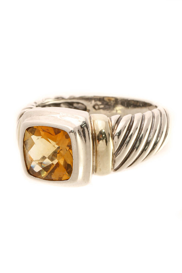 David Yurman 8mm Citrine Noblesse Ring - Silver/Gold Size 7