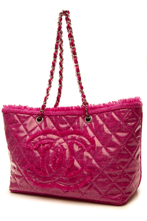 Chanel Funny Tweed Tote Bag - Fuschia Vinyl