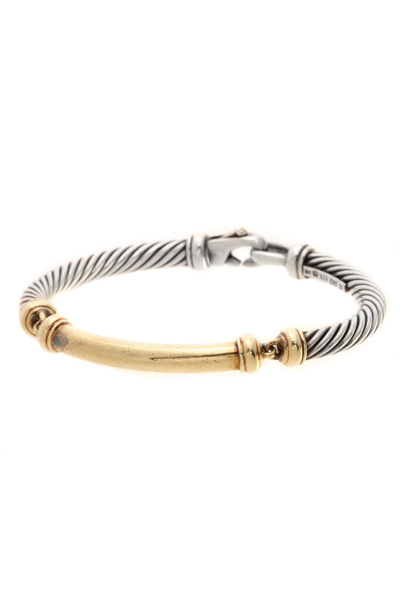 David Yurman Metro 5mm Cable Bracelet - Silver/Gold