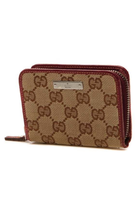 Gucci Compact Zip Wallet - Signature Canvas/Dark Red