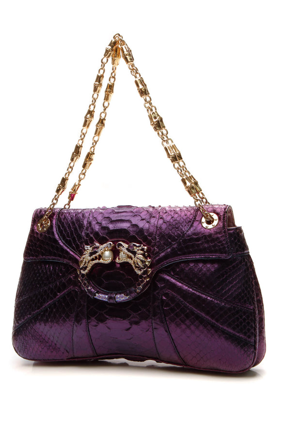 Gucci Tom Ford Python Dragon Bag - Metallic Purple