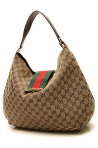 Gucci Ladies New Web Large Hobo Bag - Signature Canvas