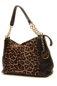 Michael Kors Stanthorpe Large Satchel - Black/Leopard