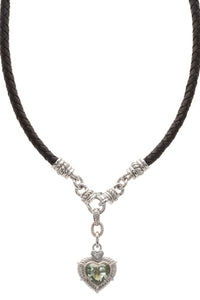 Judith Ripka Peridot Heart Braided Necklace - Black/Silver