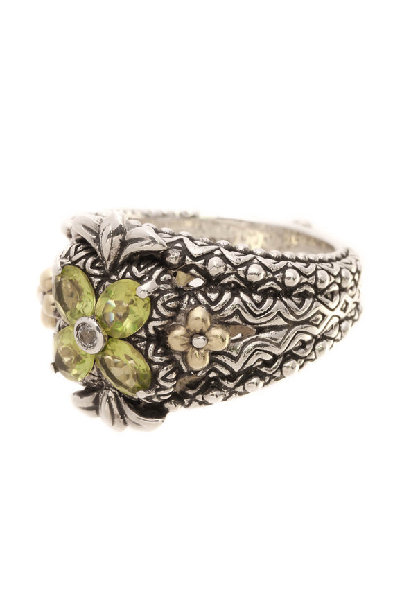 Bixby Peridot Floral Ring - Silver/Gold Size 7