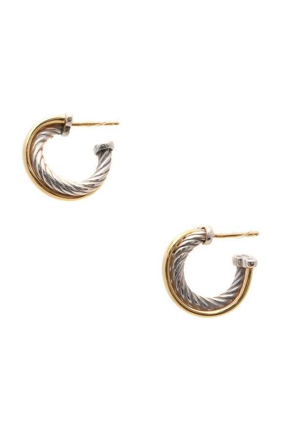 David Yurman Crossover Extra Small Hoop Earrings - Silver/Gold