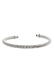 David Yurman 5mm Diamond & Onyx Cable Bracelet - Silver