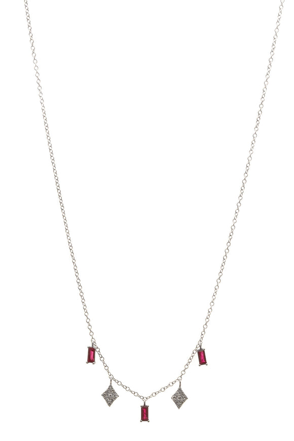 Meira T Ruby & Diamond Charm Necklace - White Gold