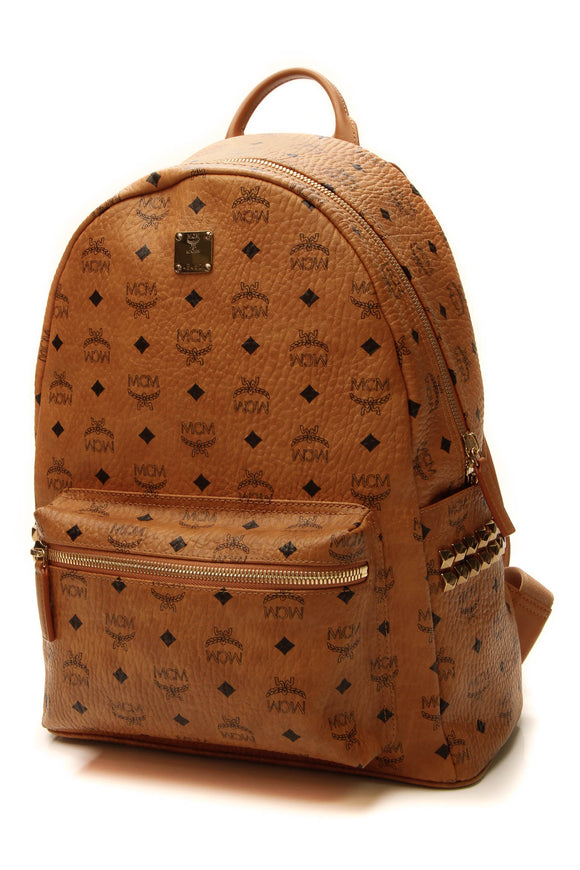 MCM Stark Medium Studded Backpack - Cognac Visetos